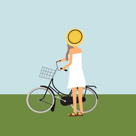Reise infographics.Hipster Tourist mit Touren Fahrrad Vektor. Abbildung EPS10. Standard-Bild - 79829900