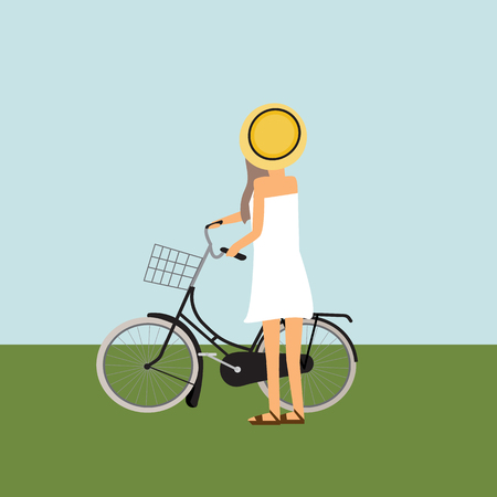 Travel infographics.Hipster Tourist with touring bicycle vector. illustration EPS10. Illustration