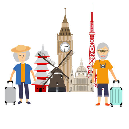 Senior Tourist traveller couple vector. illustration EPS10. Çizim