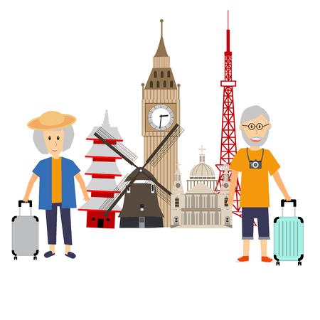 family holiday: Senior Tourist traveller couple vector. illustration EPS10. Illustration