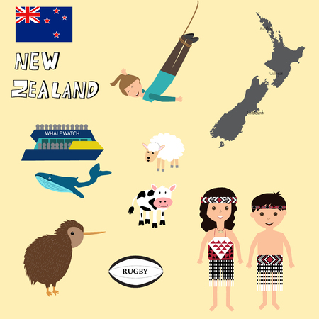 Travel New Zealand vector. illustration EPS10.