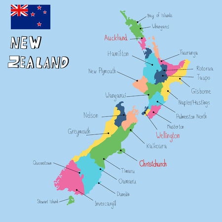 New Zealand map hand draw vector. illustration EPS10. Иллюстрация