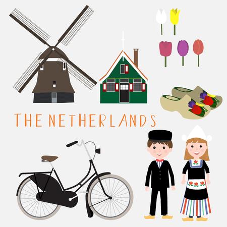 オランダ旅行インフォ グラフィック .illustration ベクター EPS 10  イラスト・ベクター素材