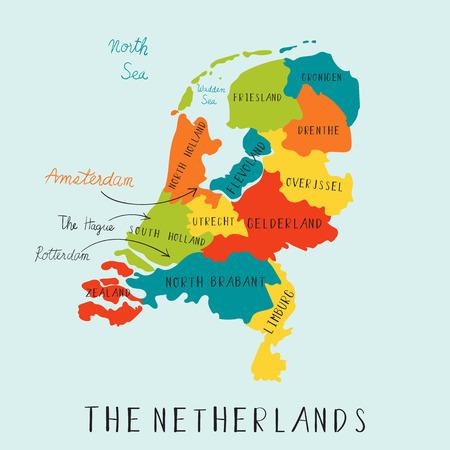 Die Niederlande Karten Hand Zeichnung.illustration Vektor EPS 10 Vektorgrafik