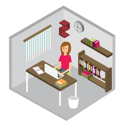 Girl in  working room Isometric 3D.Illustration EPS10.