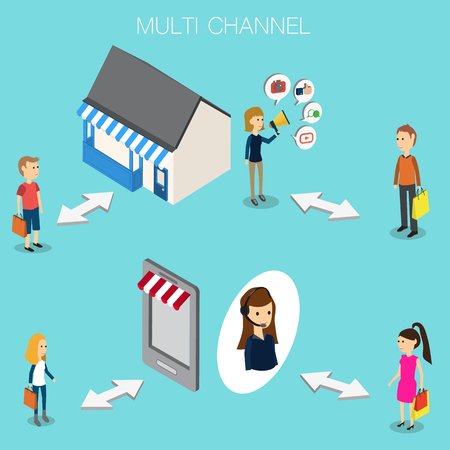 smartphone business: Multi channel concept for OMNI Channel Isometric 3D vector. illustration EPS10. Illustration