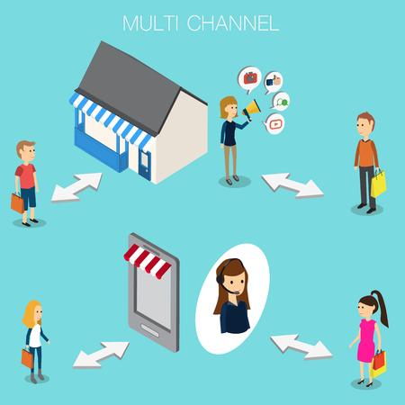 Multi channel concept for OMNI Channel Isometric 3D vector. illustration EPS10. Illustration