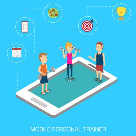 Sport traing online mobile Isometric 3D vector. illustration EPS10.
