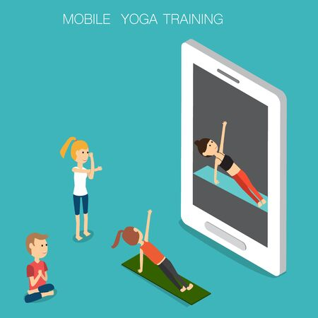 personal trainer: Sport Yoga traing online mobile Isometric 3D vector. illustration EPS10.
