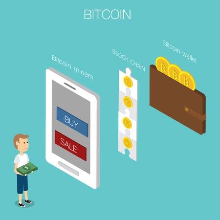 Bitcoin concept vettore isometrico 3D. illustrazione EPS10. Archivio Fotografico - 80048622