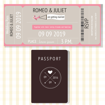 Passport  and broading pass design wedding invitation cards .Ilustration EPS 10.