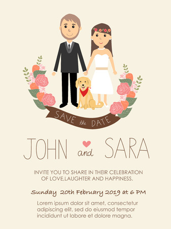 wedding invitation cards with bride and groom and their dog pet Golden retriever. vintage style.save the date banner.Ilustration EPS 10.