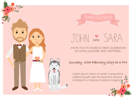 wedding invitation cards with bride and groom and their syberian husky dog pet. vintage style.save the date banner.Ilustration EPS 10.