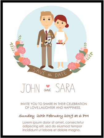 wedding invitation cards with bride and groom and their beagles dog pet. vintage style.save the date banner.Ilustration EPS 10.