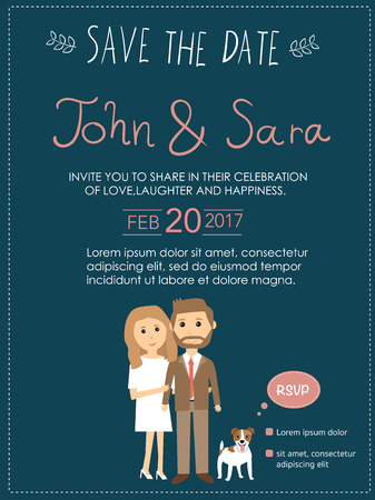 wedding invitation cards with bride and groom and their Jack russel dog pet. vintage style.save the date banner.Ilustration EPS 10.