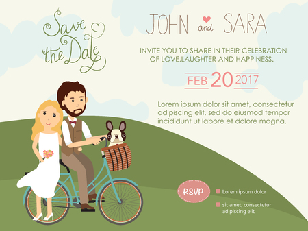 wedding invitation cards with bride and groom and their Pug dog pet. vintage style.save the date banner.Ilustration EPS 10.