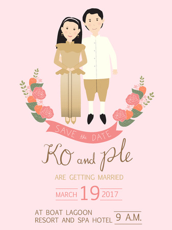 wedding invitation cards with bride and groom on the car. vintage style.save the date banner.Ilustration EPS 10. Illustration