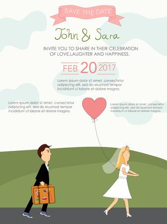 Wedding invitation cards, vector illustration.