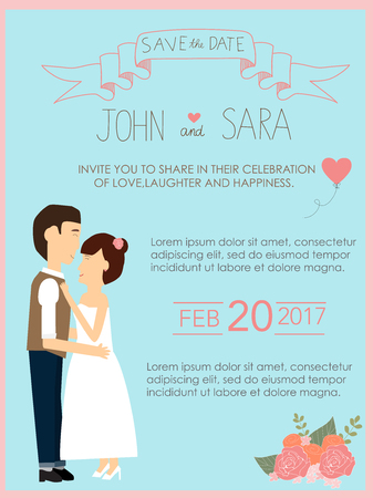 wedding invitation cards with bride and groom vintage style.save the date banner.Ilustration EPS 10. Stock fotó - 80047649