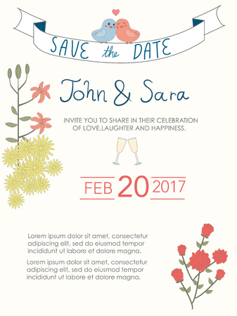wedding invitation cards  vintage style.save the date banner.Ilustration EPS 10. Illusztráció
