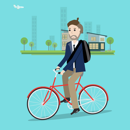 Businessman with top knot hairstyle cycling the bicycle in the smart city vector. illustration EPS10.