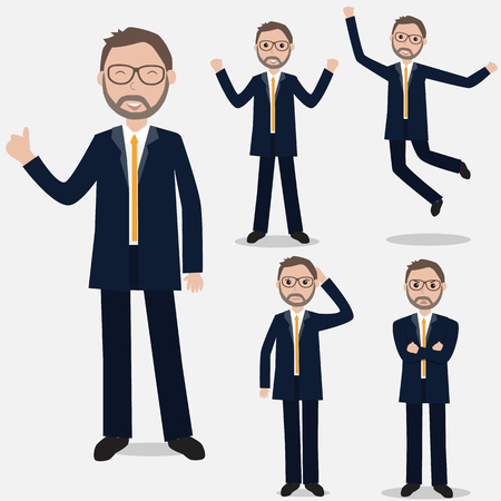 Businessman is showing in the different emotions.Ilustration EPS 10.