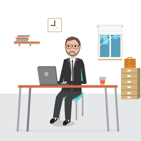 Business man working in the co-working space infographics elements.illustration EPS10.