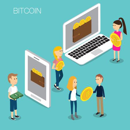 Bitcoin 概念等角投影の 3D ベクトル。EPS10 の図。  イラスト・ベクター素材