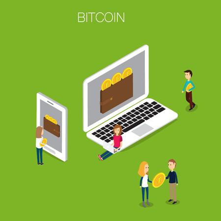 Concetto di Bitcoin Vettore isometrico 3D. illustrazione EPS10. Archivio Fotografico - 80261152