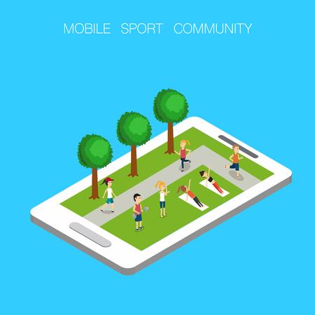 Vettore 3D isometrico mobile online della comunità sportiva. illustrazione EPS10. Archivio Fotografico - 80261155