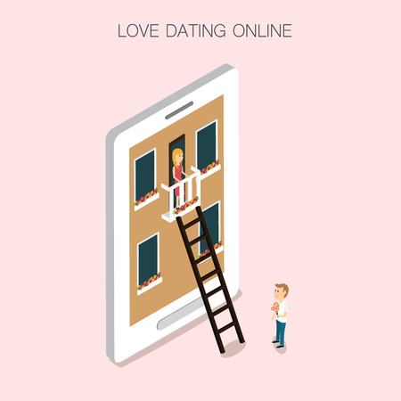 hallway: Online dating mobile  Isometric 3D vector. illustration EPS10.