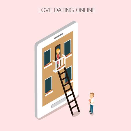 Vettore 3D isometrico mobile dating online. illustrazione EPS10. Archivio Fotografico - 80261156