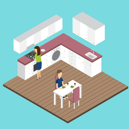 people in the modern kitchen Isometric 3D vector. illustration EPS10.