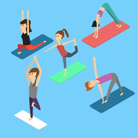 people in the yoga poses Isometric 3D vector. illustration EPS10. Иллюстрация