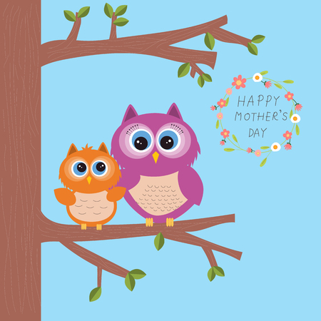 La festa della mamma felice con il bello gufo abbraccia i loro bambini o bambino sull'albero Illustrazione. EPS 10 Archivio Fotografico - 80501308