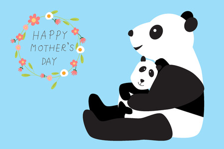 Happy mothers day with panda bear hug thier kids or baby .illustration. EPS 10