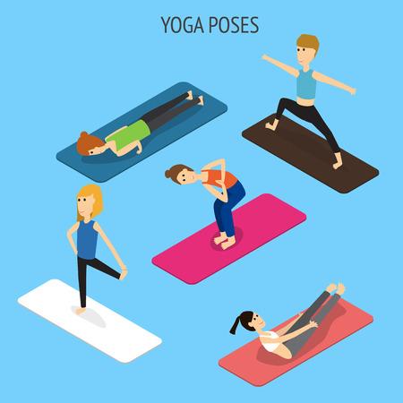 La gente nello yoga pone vettore isometrico 3D. illustrazione EPS10. Archivio Fotografico - 80785587