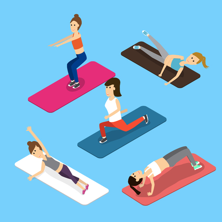 people women gym workout exercise Isometric 3D vector. illustration EPS10.