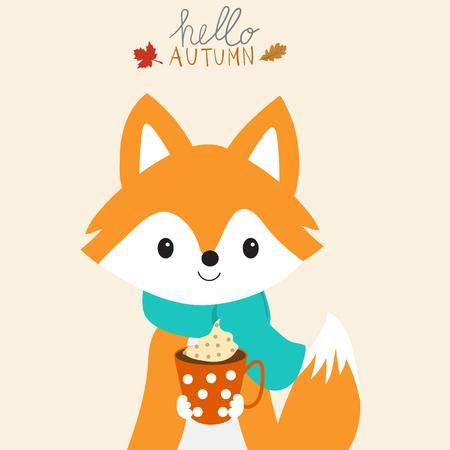 Mały lis z filiżanką ciepły dojny jesień sezon ilustracja EPS 10.
