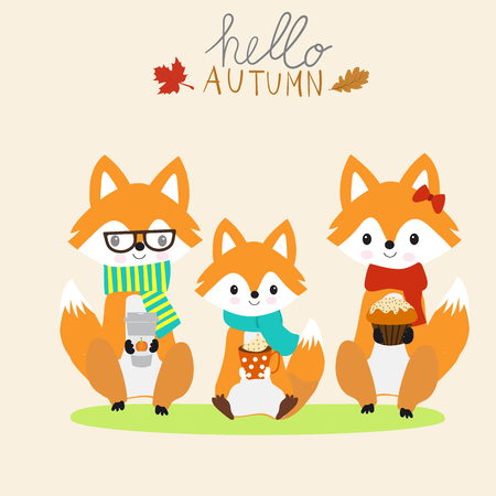 Fox family  with a cup of warm milk,coffee,cake autumn season.illustration EPS 10.