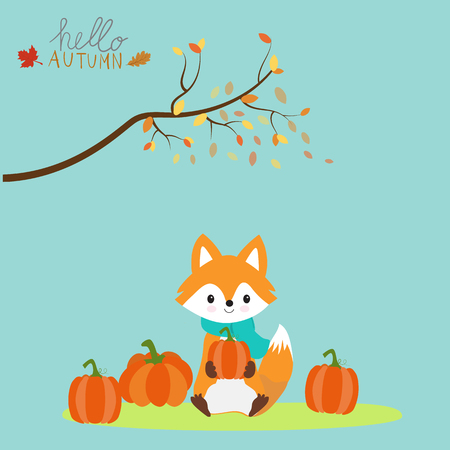 Little fox with pumpkins autumn season.illustration EPS 10.  イラスト・ベクター素材