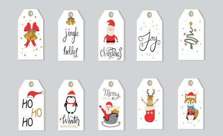 Merry christmas gifts tags  hand lettering.