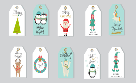 Merry christmas gifts tags hand lettering. Vectores