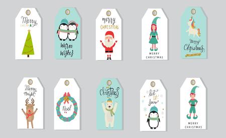 Joyeux noël cadeaux tags lettrage à la main. Banque d'images - 88079538