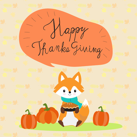Happy Thanks giving with little fox hand lettering.