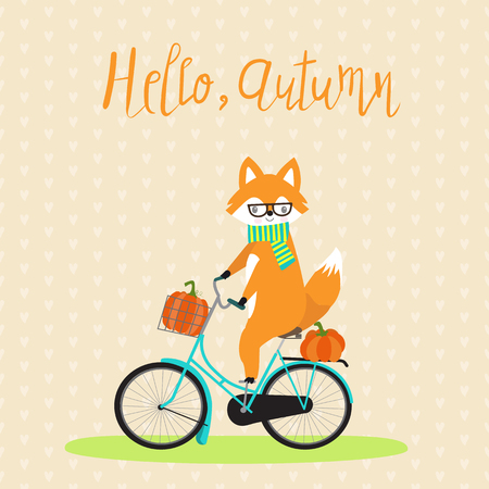 Fox with bicycle and pumpkins autumn.
