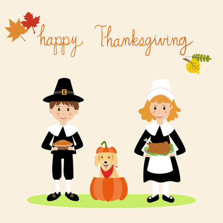Happy Thanks giving with pilgrim children and golden retriever dog. Stock fotó - 88079541