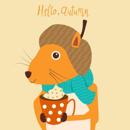 eekhoorn met een kop warme koffie in de herfstseizoen. Stock Illustratie