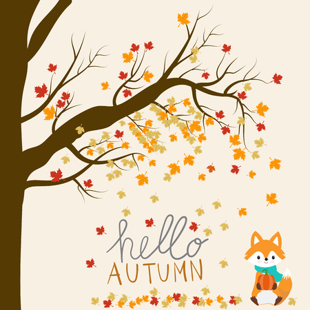 Little fox with pumpkin autumn season.  イラスト・ベクター素材
