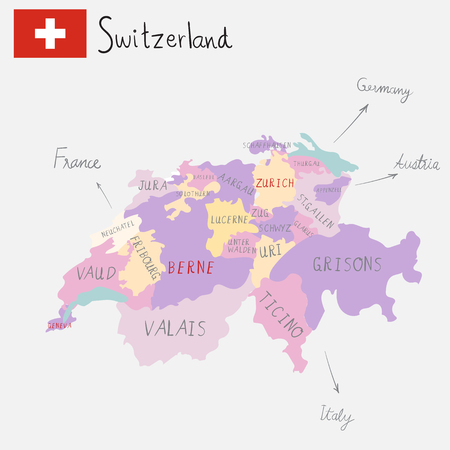 Hand drawing Switzerland maps.